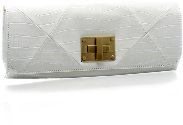 ASOS Square Twist Lock Mock Croc Clutch