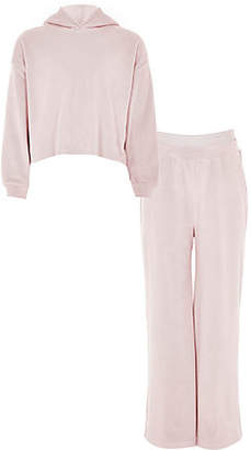 River Island Girls pink velour hoodie and jogger outfit