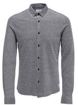 ONLY & SONS Long-Sleeve Textured Button-Down Shirt
