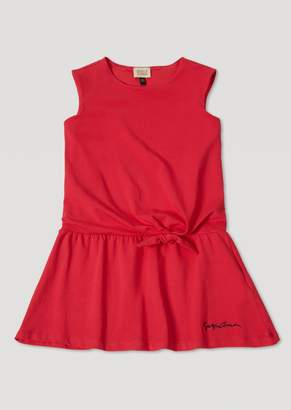 Armani Junior Stretch Cotton Jersey Dress With Bow Detail