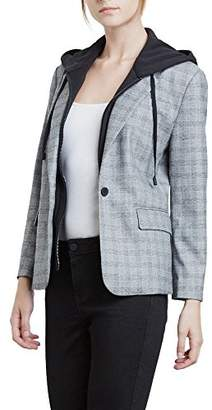 Kenneth Cole Women's Menswear Blazer with Removable Hoodie