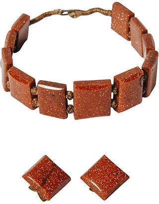 One Kings Lane Vintage Goldstone Bracelet & Earrings Parure - Maeven