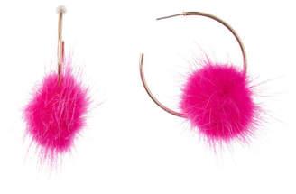 BaubleBar Fifi Genuine Dyed Marten Fur Pompom 40mm Open Hoop Earrings