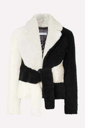 Saks Potts Tie-front Two-tone Shearling Jacket - White