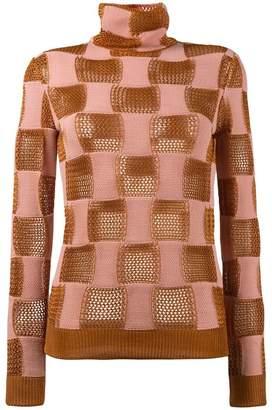 Marni check open knit sweater