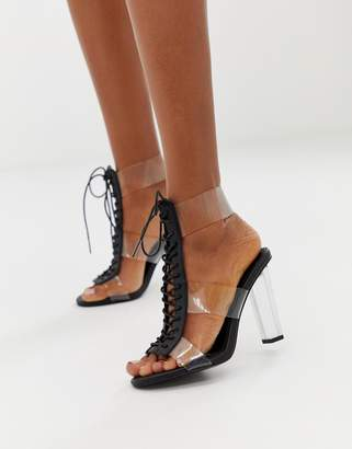 clear ASOS DESIGN Humidity lace up Block Heeled Sandals