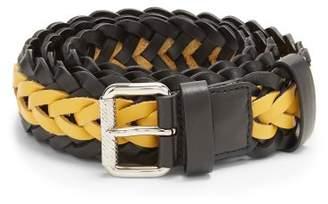 Prada Bi Colour Braided Leather Belt - Mens - Yellow Multi
