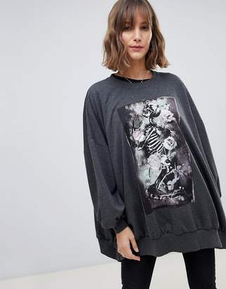 Religion oversized graphic sweat with praying skeleton