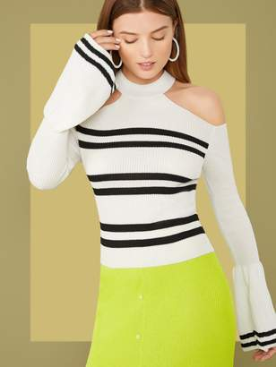 Shein Cold Shoulder Flounce Sleeve Striped Sweater