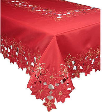 The Holiday Aisle Festive Poinsettia Embroidered Cutwork Holiday Tablecloth