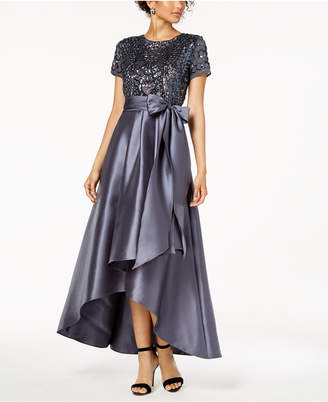 e03b7fa0df R   M Richards High-Low Sequin-Embellished Gown
