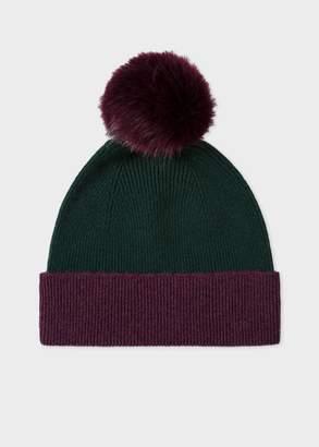 Paul Smith Women's Dark Green and Damson Pom-Pom Wool Hat