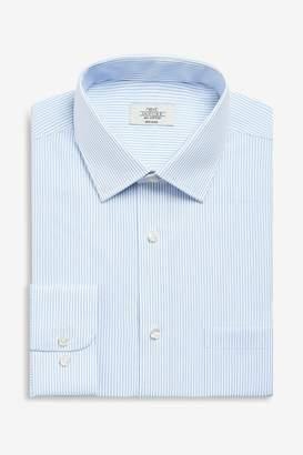 Mens Blue Stripe Regular Fit Single Cuff Non-Iron Shirt - Blue