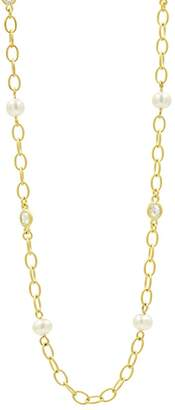 """Freida Rothman Cultured Freshwater Pearl Textured Link Chain Necklace, 40"""""""
