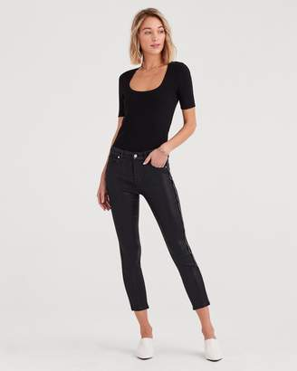 7 For All Mankind b(air) Denim High Waist Ankle Skinny with Velvet Zipper Tape in Black Coated
