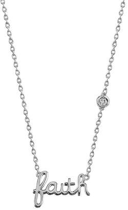 Sydney Evan Syd by Sterling Silver Diamond 'Faith' Pendant Necklace - 0.015 ctw