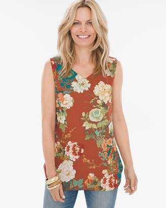 Chico's Chicos Reversible Floral-Dot Tank