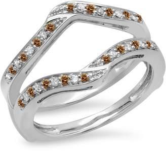 DazzlingRock Collection 0.30 Carat (ctw) 14K White Gold & White Diamond Wedding Enhancer Guard Ring 1/3 CT (Size 8.5)