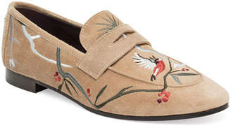 Bougeotte Embroidered Suede Penny Loafer, Wine
