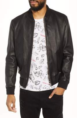 The Kooples Regular Fit Leather Bomber Jacket