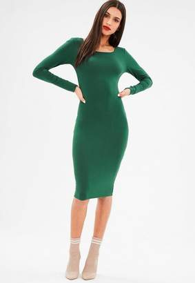 Missguided Green Long Sleeve Jersey Midi Dress
