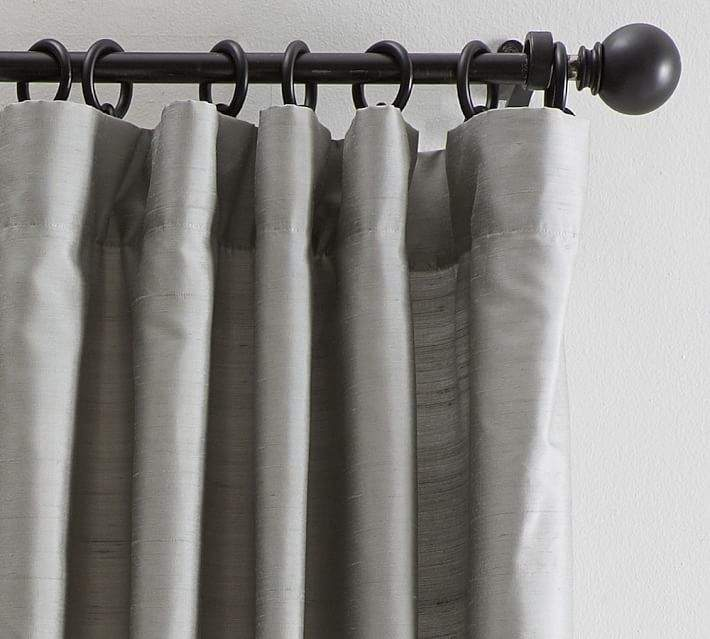 Dupioni Silk Pole-Pocket Drape - Platinum Gray