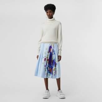 Burberry Rainbow Print Cotton Sateen Skirt , Size: 06, Blue