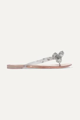 Valentino Garavani The Rockstud Glittered-rubber Flip Flops - Silver