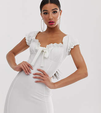 Missguided milkmaid mini dress in white