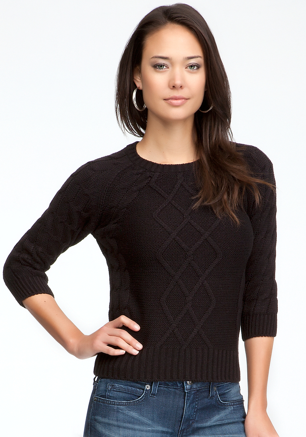 Bebe Crew Neck Cable Sweater