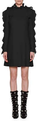 Giambattista Valli Ruffled Long-Sleeve Mini Shift Dress w/ Bow Details