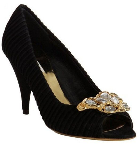 Miu black pleated suede jeweled peep toe pumps