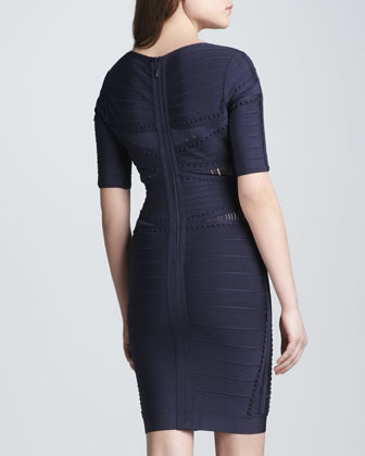 Herve Leger Half-Sleeve Dress with Cutouts