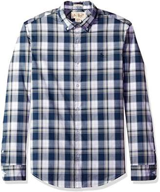 Original Penguin Men's Long Sleeve Button Down Collar Stretch Plaid