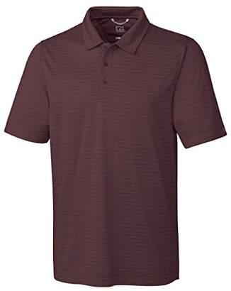 Cutter & Buck Men's Moisture Wicking Textured Cascade Melange Stripe Polo Shirt