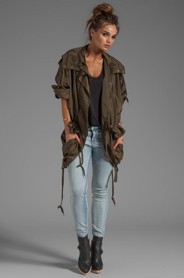 Sonia Rykiel SONIA by Light Nylon Short Trench With Hood