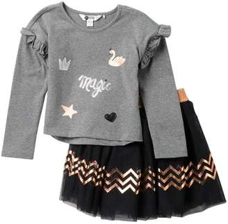 Petit Lem Knit Top & Skirt Set (Toddler & Little Girls)