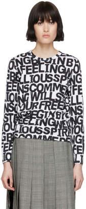 Comme des Garcons White Letters Long Sleeve T-Shirt