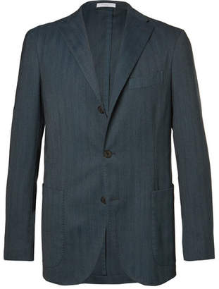 Boglioli Blue Slim-Fit Herringbone Stretch Wool-Blend Blazer - Men - Blue