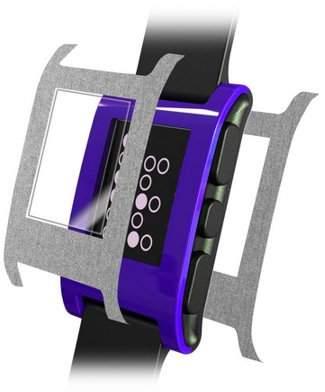 Skinomi Brushed Aluminum Watch Skin+Screen Guard for Pebble E-Paper Smartwatch