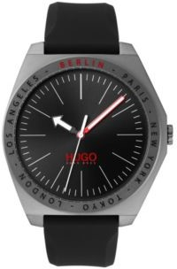 Matte-grey-plated watch with engraved city names