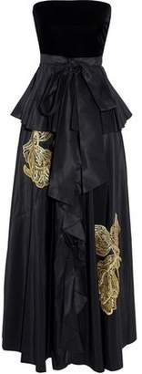 Sachin + Babi Correra Strapless Velvet-Paneled Embroidered Taffeta Gown