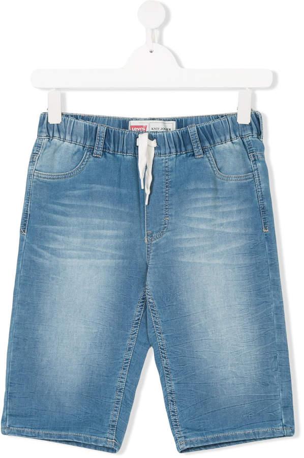 Kids drawstring-waist denim shorts