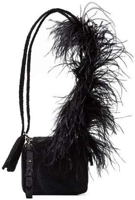 Marques Almeida Marques'Almeida black ostrich feather strap leather shoulder bag