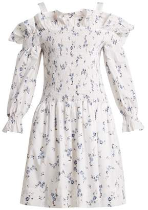 Rebecca Taylor Francine Off The Shoulder Floral Print Dress - Womens - White Print