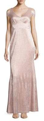 Calvin Klein Metallic Cold-Shoulder Gown