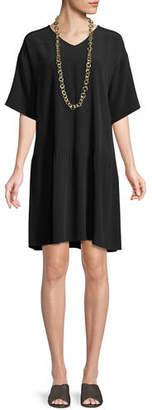 Eileen Fisher Viscose-Crepe Drop-Waist Dress, Petite