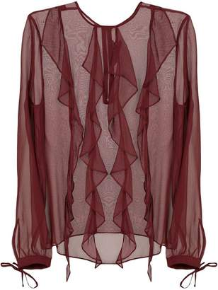 Thomas Wylde frill trim sheer blouse