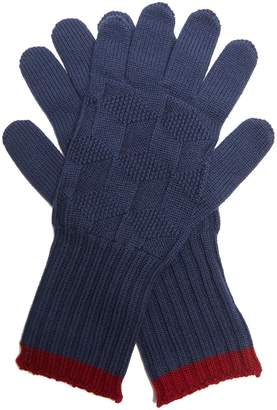 Etro Contrast-trim wool-knit gloves