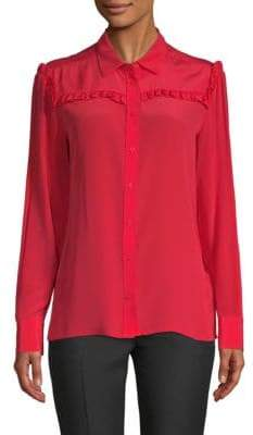Maje Ruffled Silk Top